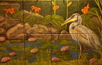 Sold. Blue Heron, Oils