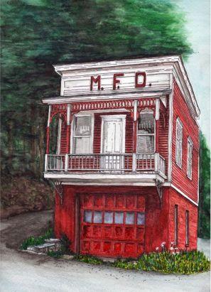 MFD (Meshoppen Firehouse) Meshoppen, PA. Watercolor and Pen