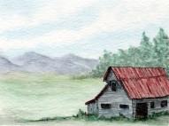 Pennsylvania mountains. Watercolor and Pen