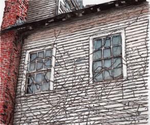 Gay's Hardware Store windows. Tunkhannock, PA. Watercolor